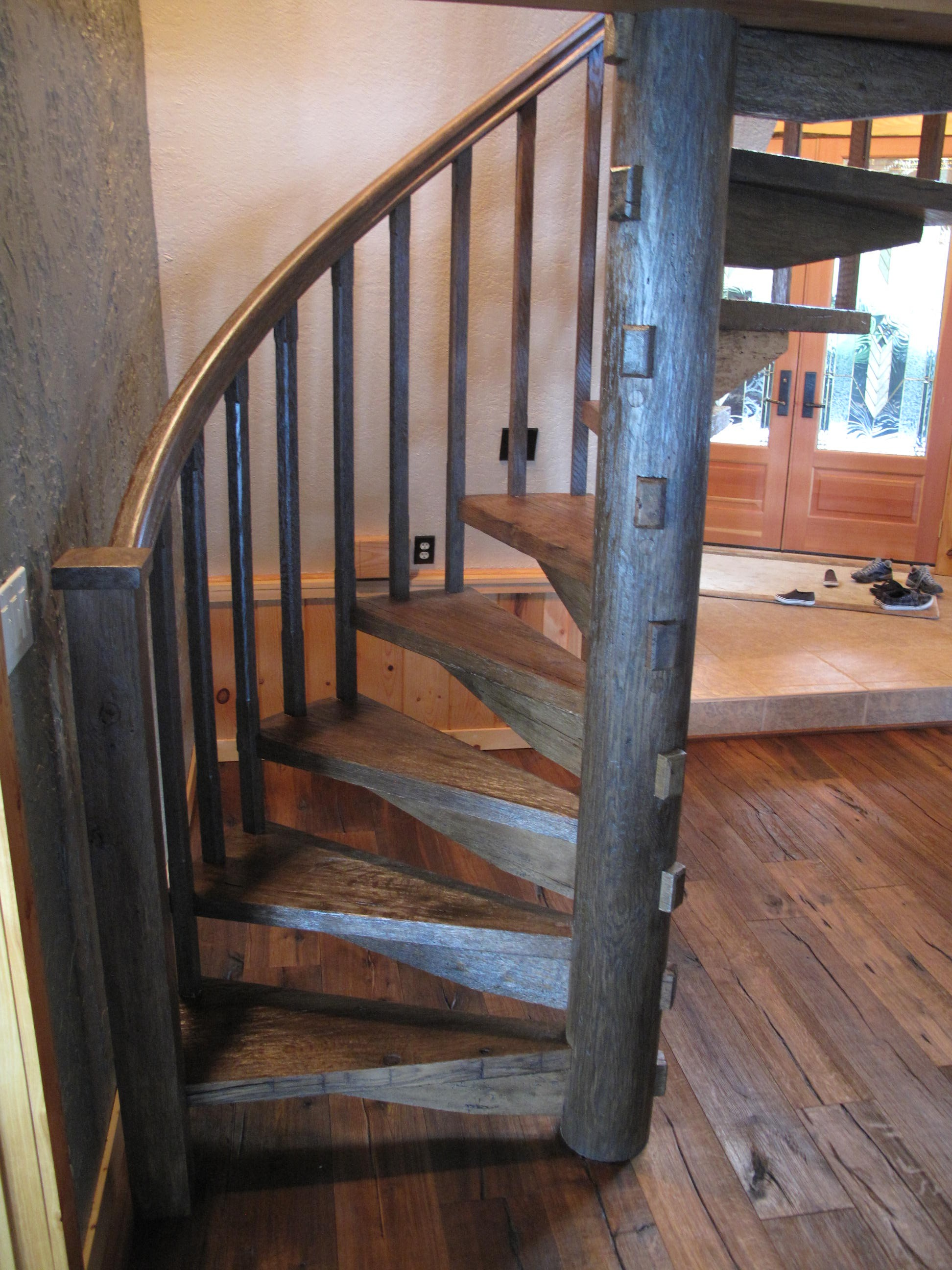 Custom spiral staircases zane smith woodworking for Spiral stair