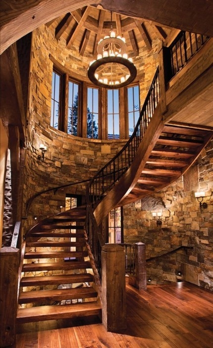 Marvelous Cherry Spiral Staircase